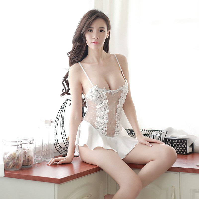 2020 Spring And Summer New Style Sexy Nightgown Transparent Gauze Stereo Embroidery One-piece Camisole Short Skirt Home Nightgow