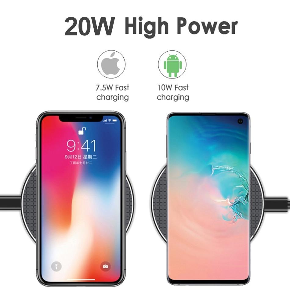 Nieuwste 20W Qi Snelle Draadloze Oplader Voor Iphone 11 Xs Xr 8 Plus Usb Quick Draadloze Opladen Pad Voor iphone Samsung Huawei Xiaomi 6