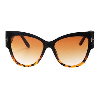 2019 New Fashion Brand Designer Tom Cat Eye Sunglasses Women Oversized Frame Vintage Sun Glasses oculos de sol UV400 - C4