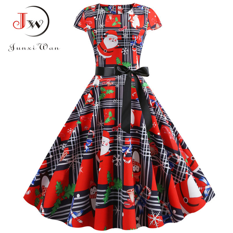Elegant Women Christmas Dress Santa Claus Plaid Print Short Sleeve Summer Pin Up Vintage Xmas Party Midi Dresses Robe Plus Size