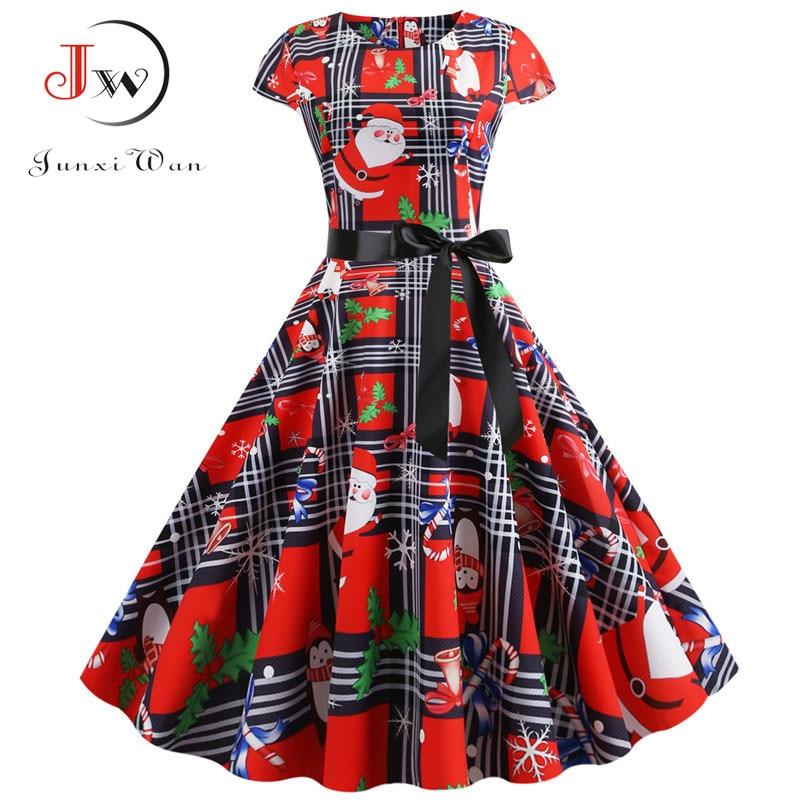 Elegant Women Christmas Dress Santa Claus Plaid Print Short Sleeve Summer Pin Up Vintage Xmas Party Midi Dresses Robe Plus Size
