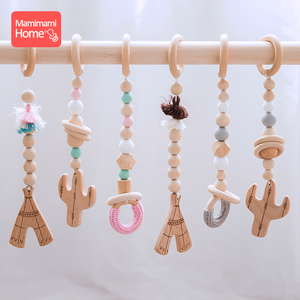 Image 3 - Baby Wooden Teether Pendant Baby Play Gym Set Sensory Ring Pull Beech Ring Crochet Bead ChildrenS Goods Wooden Blank Cotton Toy