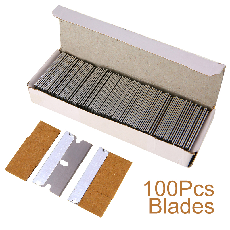 100Pcs Single Razor Blade Carbon Steel Scrape Blades For Scrapers Removing Paint Decals Fish Tank Glass Window Thickness 0.2mm