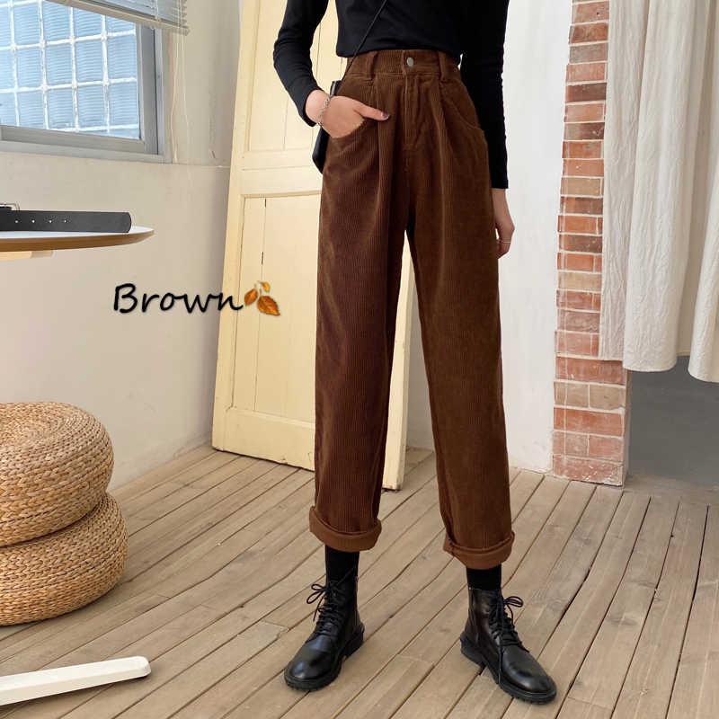 Pantalones De Pana Vintage Para Mujer Pantalon Recto Marron De Cintura Alta Informal Holgado Capri 2020 Pantalones Y Pantalones Capri Aliexpress