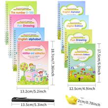4 Books + Pen Reusable 3D Magic Exercise Book Children 0-10 Writing Stickers Calligraphy English Numbers Letters Montessori Toy