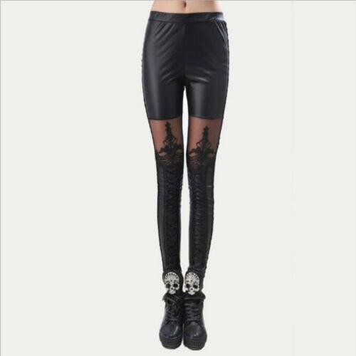 Women's PU Leather Pants Stretchy Push Up Pencil Skinny Tight Leggings Black