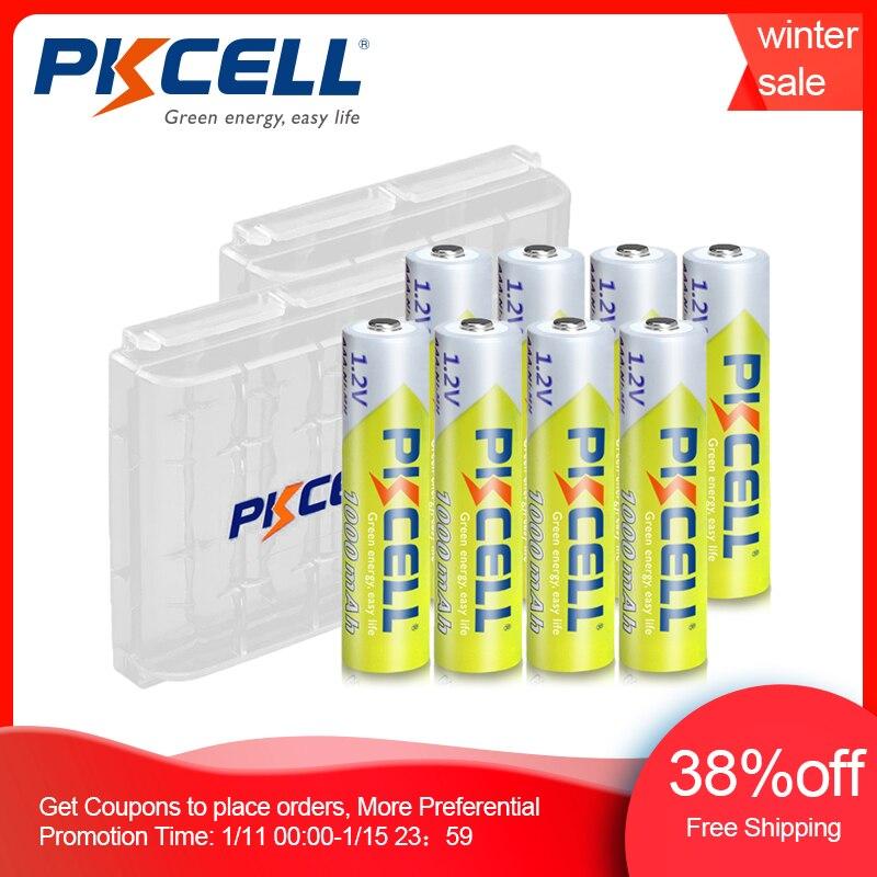 8 шт. PKCELL AAA батарея 1,2 в Ni-MH AAA аккумуляторная батарея 1000 мАч батареи 3A Bateria Baterias с 2 шт. AAA/AA Батарейный держатель