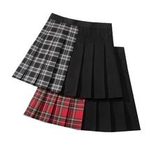 Gothic Punk Women Skirts Patchwaork Female Pleated Skirts Harajuku Fashion Woman Plaid Skirt Casual A-line Ladies Mini Skirt