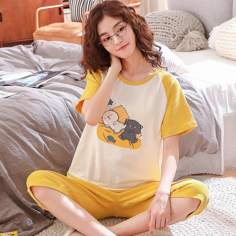 2020new 여름 코튼 잠옷 세트 여성 달콤한 만화 짧은 소매 티셔츠 + 자른 바지 투피스 양복 패션 홈 의류