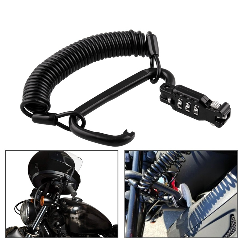 Motorcycle Helmet Lock & Cable. Black Tough Combination PIN Locking Carabiner Device Secures Your Motorbike, Bicycle Or Scooter