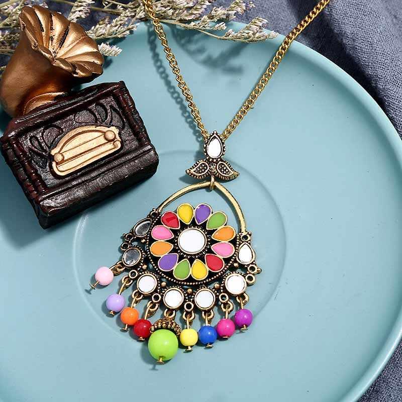Freies Verschiffen Neue Frauen Vintage Retro Silber-farbe Afrikanische Bunte Steine Hochzeit Schmuck Halskette Ohrringe Sets Beste Geschenk