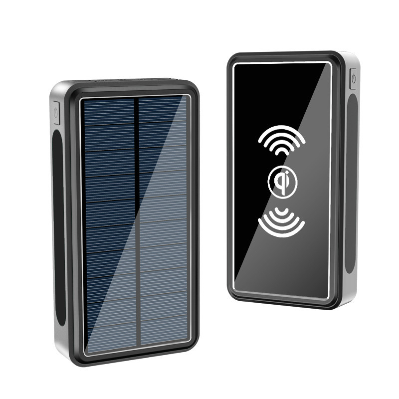 Fast Qi Wireless Charger <font><b>Solar</b></font> <font><b>Power</b></font> <font><b>Bank</b></font> <font><b>50000mAh</b></font> For iPhone Xiaomi Powerbank Portable Charger Type C Poverbank with Flashlight image