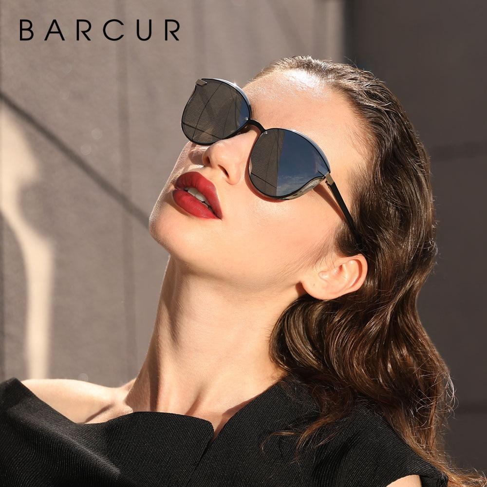 BARCUR Luxury Polarized Sunglasses Women Round Sun glassess Ladies lunette de soleil femme 3