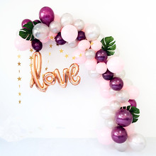 89pcs Rose Gold Love Balloon Garland Kit Pink Star Banner Balloons Arch Baby Shower Birthday Wedding Engagement Party Decoration
