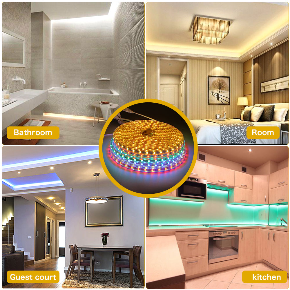 Hf8f5dd3979984bb69ee3a713a88c0fd9X 220V LED Strip Light SMD 5050 Outdoor Waterproof LED Ribbon 60Leds/M high brightness outdoor indoor decoration with EU Plug