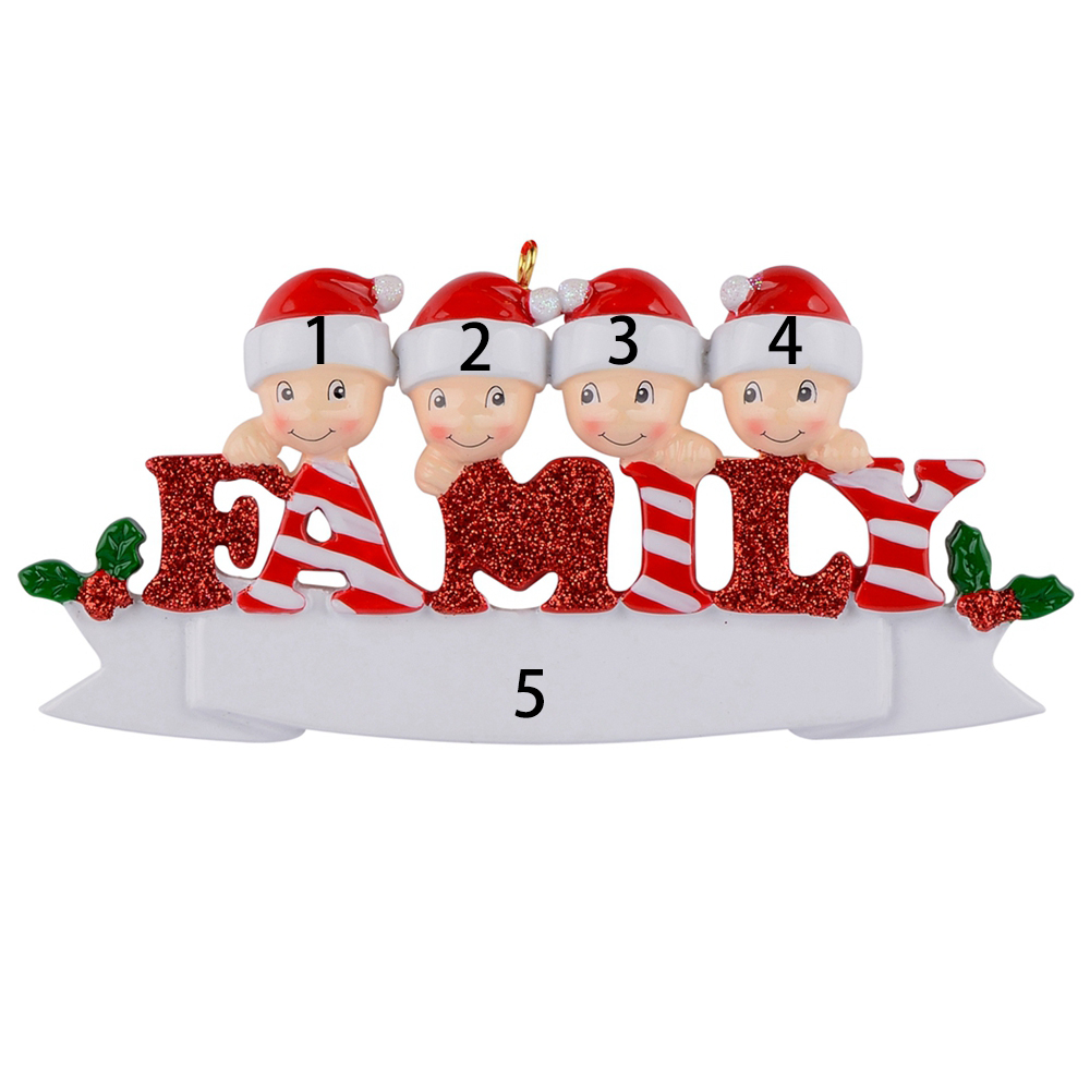 Sparkle Family of 5 polyresin glossy personalized christmas tree ornaments for home decorations in Pendant Drop Ornaments from Home Garden