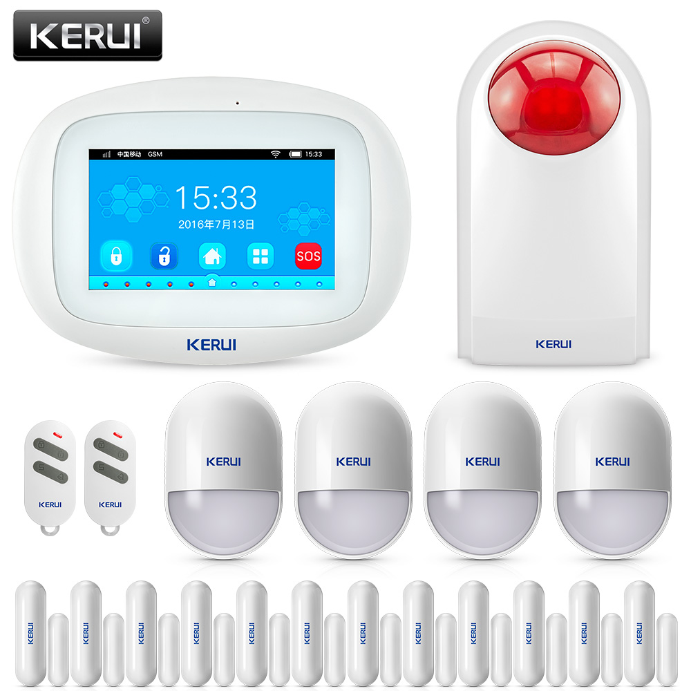 KERUI K52 Wifi GSM IOS/Android APP Control Alarm Set GSM SMS 4.3 Inch TFT Color Wireless Burglar Alarm System For Home Security