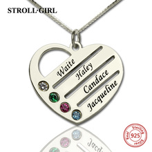 лучшая цена StrollGirl 925 Sterling Silver Personalized Mother's Heart Necklace with 4 Birthstones & Names for Women Sterling Silver Jewelry