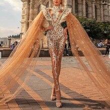럭셔리 2020 jumpsuits 댄스 파티 드레스와 케이프 높은 목 레이스 appliqued 구슬 파티 가운 터키어 vestidos 정장 드레스 저녁