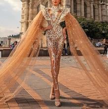 Monos de lujo para baile de graduación, Vestidos con capa y cuello alto de encaje con apliques de cuentas, Vestidos de fiesta turcos, vestido Formal de noche 2020