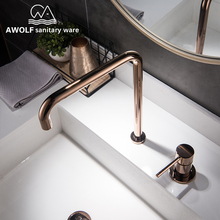 Sink Faucet Bathroom Basin Rose-Gold Brass Brushed Cold-Water-Mixer Chrome Black Hot