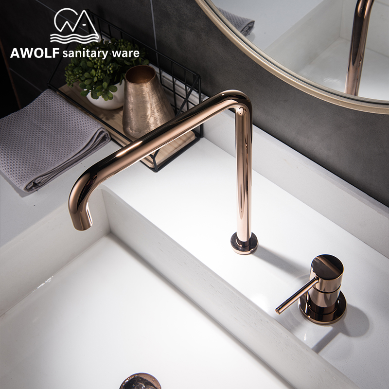 Bathroom Basin Faucet Kitchen Sink Faucet Solid Brass Shiny Gold Brushed Rose Gold Black Chrome Hot Cold Water Mixer Tap ML8049