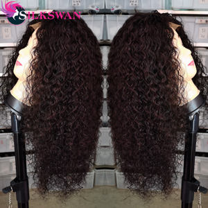 Silkswan Hair 26 28 30 Inch Deep Curly Wig 13x4 Lace Front Wigs Preplucked 150% 250%Density Natural Black Brazilian Remy Hair