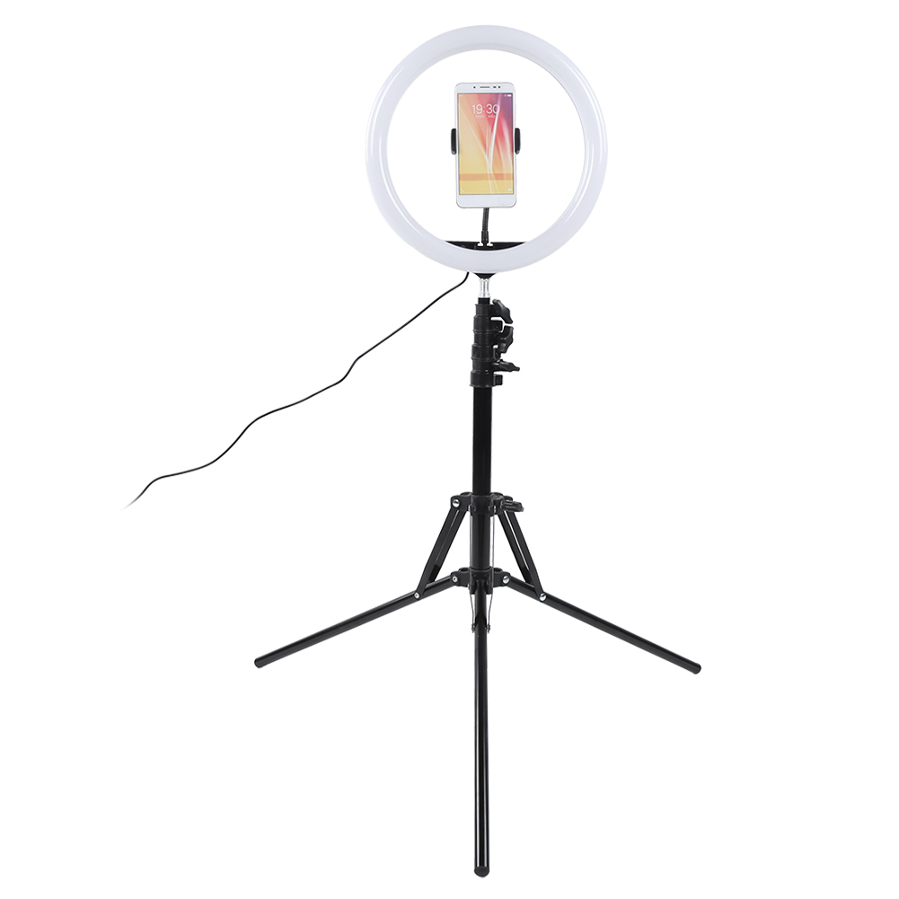 12inch Ring Light Set 160cm Folding Lamp Holder 3000-6800k Adjustable Dual Color Temperature with Ball Head Phone Clip