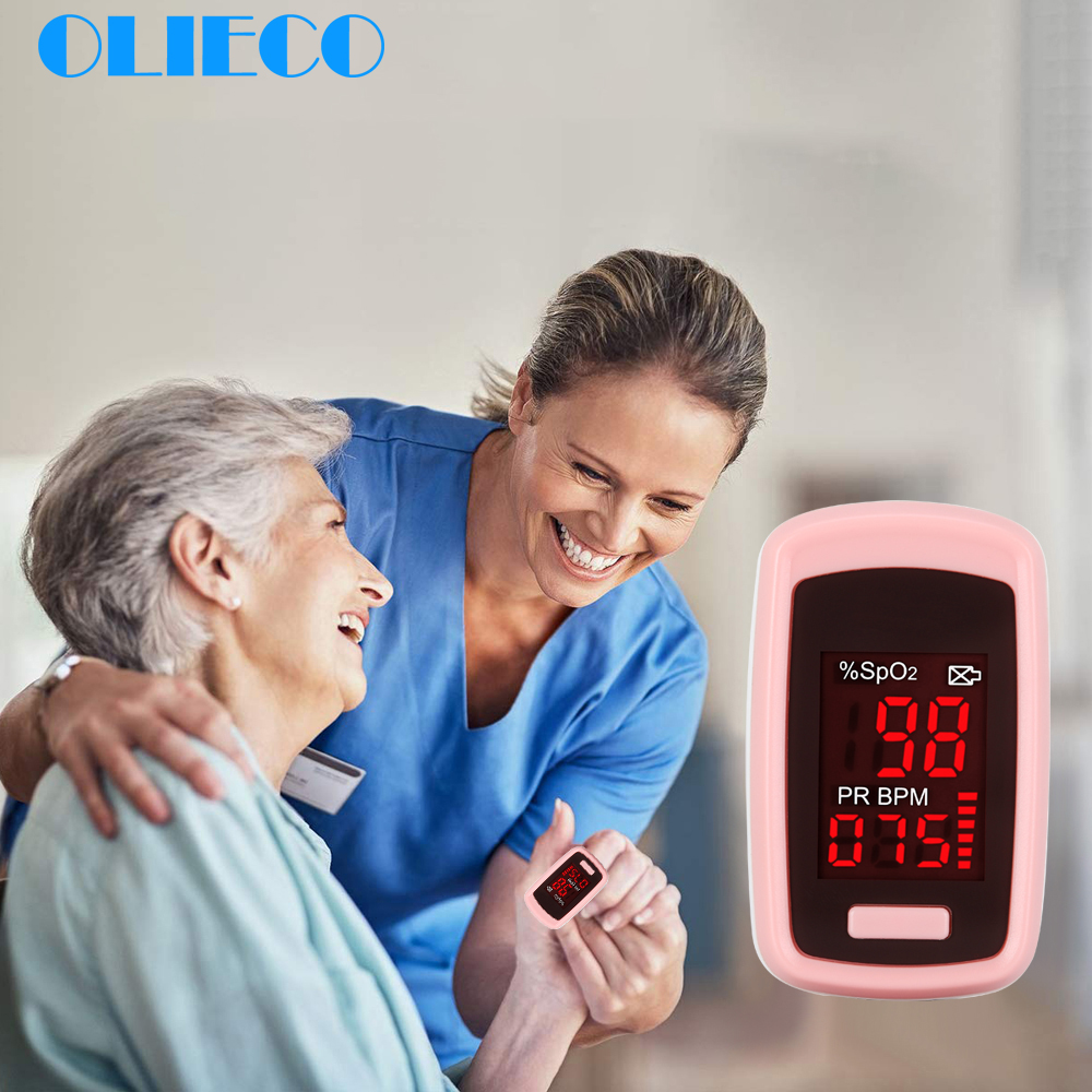 OLIECO Medical Accurate Finger Pulse Oximeter Saturator Blood Oxygen Saturation SpO2 PR Meter Monitor Red LED ScreenFDA CE Pink