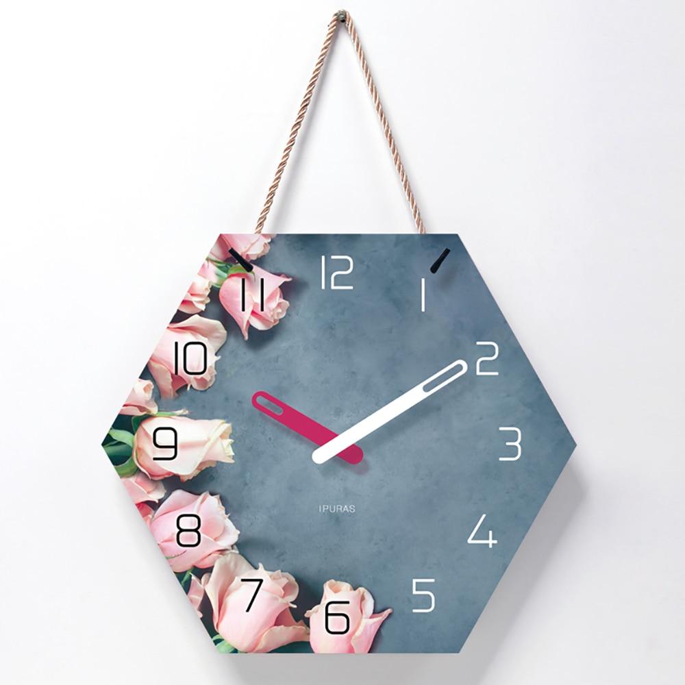 Beautiful Rose Wall Clock Modern Design Clock Large Silent Wall Watchs On Corridor And Courtyard Metal Wall Decor B50 Wall Clocks Aliexpress