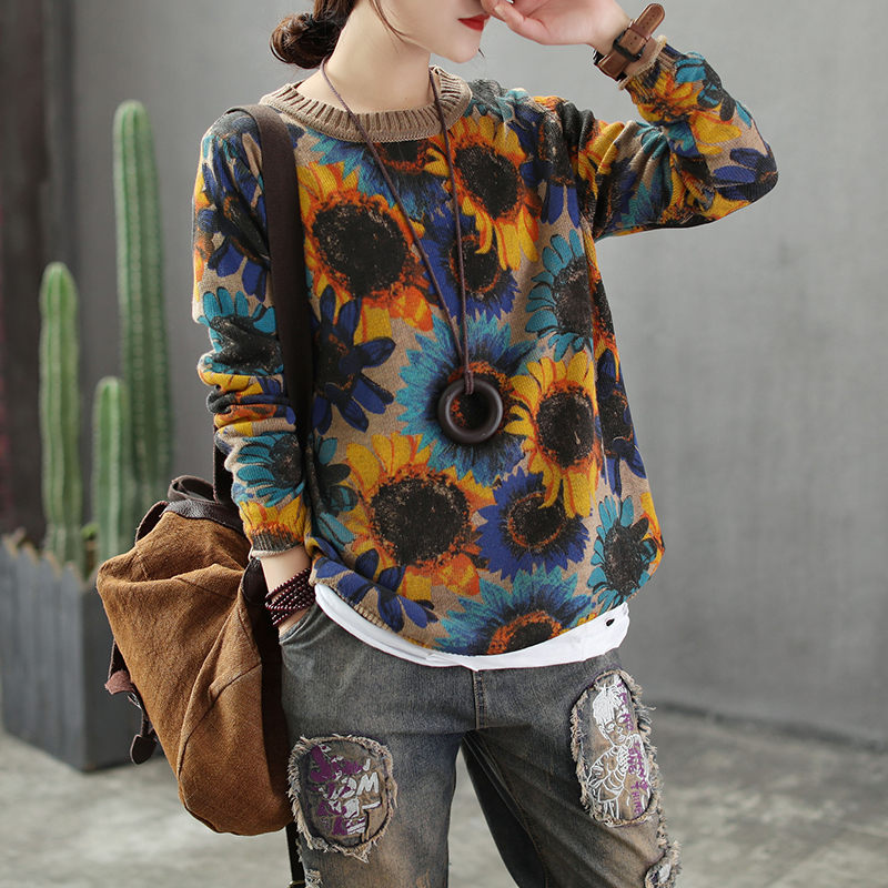 Knitwear Autumn Winter Knitted Shirt Long Sleeve Loose Vintage Sunflower Print Pullover Casual O-neck Femme Sweater Tops F1404