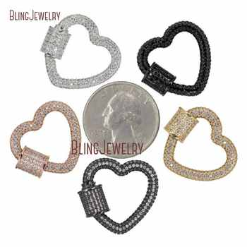 Rose Gold Silver Gunmetal Heart Clasp CZ Micro Pave Screw Clasp Lock Carabiner Pave Lock 23x22mm FC27975 - DISCOUNT ITEM  0% OFF All Category