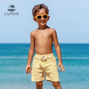 CUPSHE stałe żółte bawełniane kąpielówki strój kąpielowy dla malucha chłopiec 2021 letnie dzieci spodnie plażowe spodenki plażowe stroje kąpielowe 2-13 lat tanie i dobre opinie CN (pochodzenie) Pasuje prawda na wymiar weź swój normalny rozmiar MC40023O N Y COTTON Drukuj Yellow Blue Orange Boys Swim Trunks