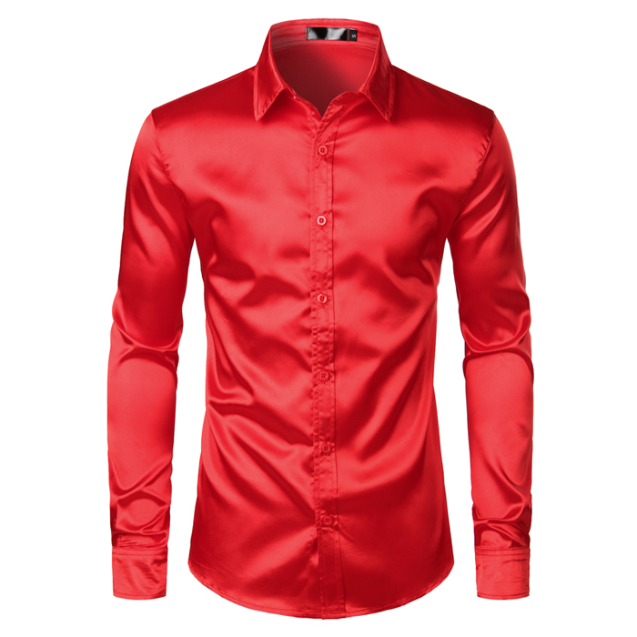 Men's Black Satin Luxury Dress Shirts 2019 Silk Smooth Men Tuxedo Shirt Slim Fit Wedding Party Prom Casual Shirt Chemise Homme 11