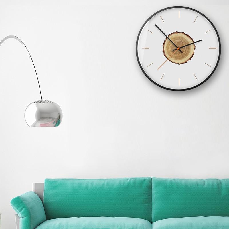 Horloge murale moderne minimaliste en bois silencieux salon créatif montres à Quartz accessoires de décoration de chambre horloges murales rondes - 3