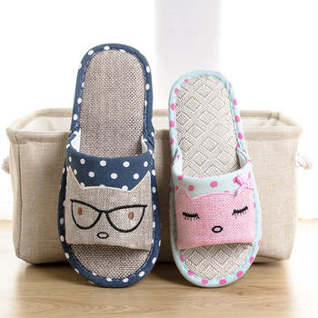 New Flax Home Slippers Indoor Lovers House Shoes Silent Cartoon Cat Ladies Slippers Summer Women Men Sandals Linen Slippers 2016 home slippers women indoor floor flax slippers men breathable linen slipper home bedroom slippers women shoes awm116