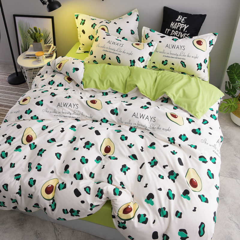 Avocado  Quilt Cover Queen Full King Single Size Children Cartoon Duvet Cover Bedclothes Comfortable Bedding Set