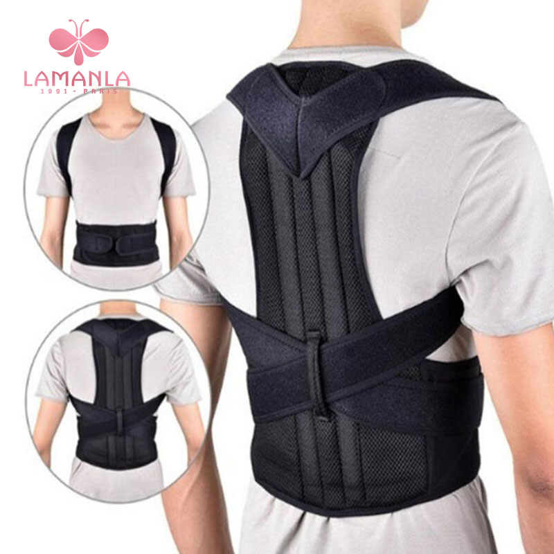 LAMANLA 1pc Women / Men's Adjustable Back Brace Shoulder Strap Posture Corrector Students' Correction Belts Clavicle Spine Bands