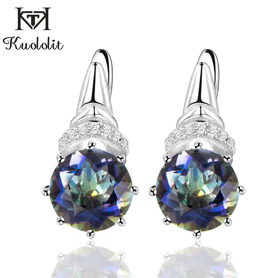 Kuololit 4.7ct Natural Blueish Mystic Quartz Clip Earrings For Women 925 Sterling Silver Gemstone Fine Jewelry  Engagement Gift