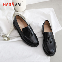 HARAVAL Fashion fringed genuine leather womens shoes simple retro round head low heel comfortable single ladies P54