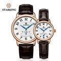 STARKING 40 мм  розовое золото  классические ретро часы  набор из натуральной кожи для мужчин и женщин  парные часы  подарок на день рождения  квар...