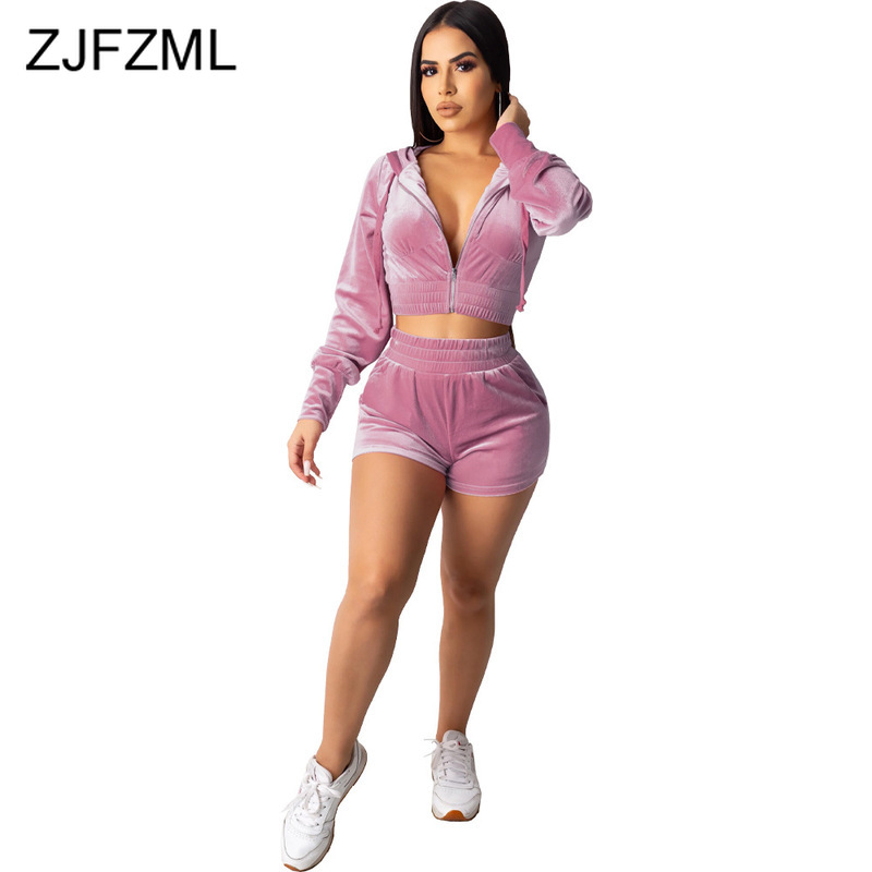 Velvet Two Piece Set Women Rave Festival Clothing Full Sleeve Hooded Short Coat And  Elastic Waist Biker Short Velour Tracksuits