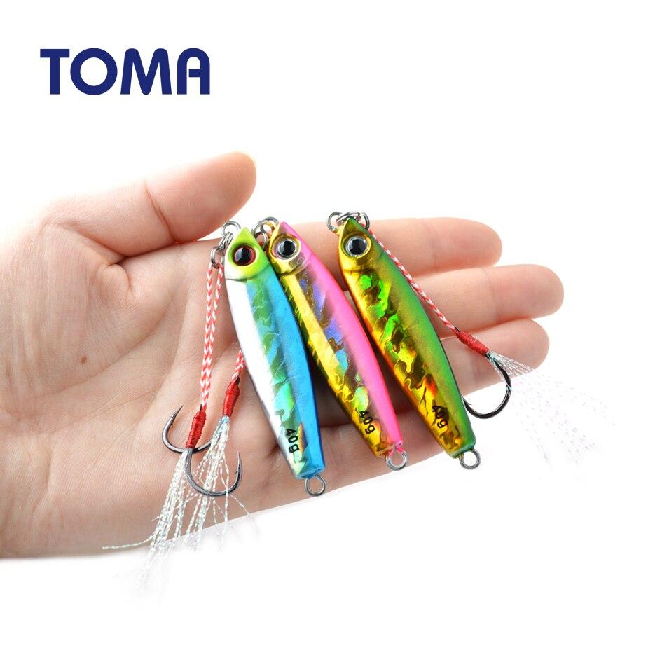 TOMA 1PCS/lot Mini Jig Slow Pitch Jigging Lure 7g 14g 28g 40g Long Cast Metal Fishing Jig Sinking Saltwater Fishing Tackle