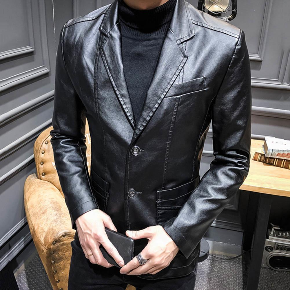 Autumn Winter Men Solid Color Faux Leather Suit Jacket Long Sleeve Lapel Blazer Coat