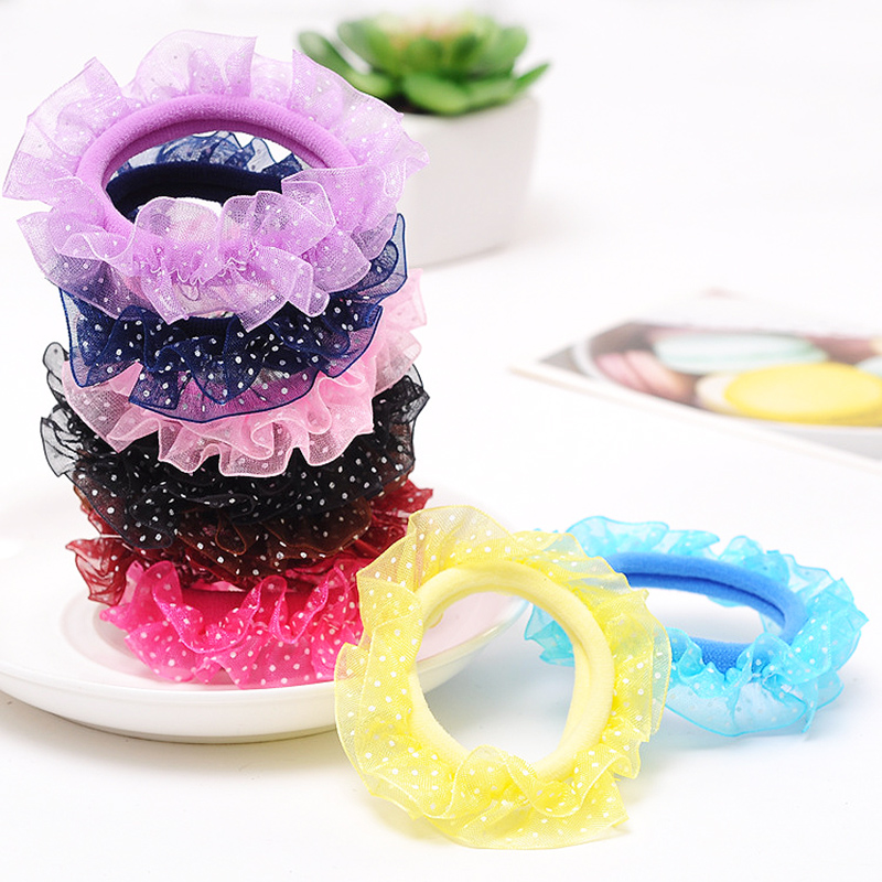 Children Head Flower Gauze Hair Accessories Princess Hair Ring  Reins Lace Girl Lace Head Rope 1 Piece Korea