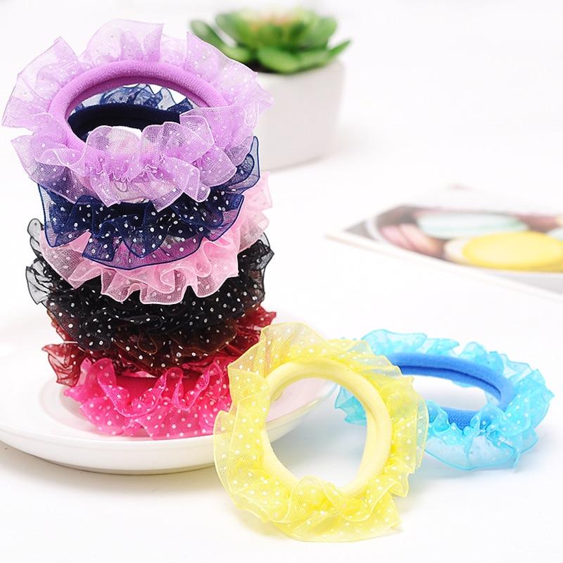 Children Head Flower Gauze Hair Accessories Princess Hair Ring  Reins Lace Girl Lace Head Rope 1 Piece Korea