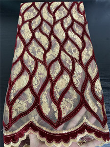 Image 3 - Embroidery Velvet Lace Fabrics High Quality African Lace with Stones French Tulle Mesh Lace Fabric for Wedding Dress APW2763B