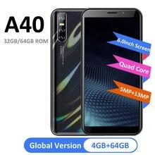 A40 versão global 4gb ram 64gb rom telefones celulares mt6580 quad core 13mp câmera 6.0 polegada tela cheia rosto desbloqueado 3000mah bateria