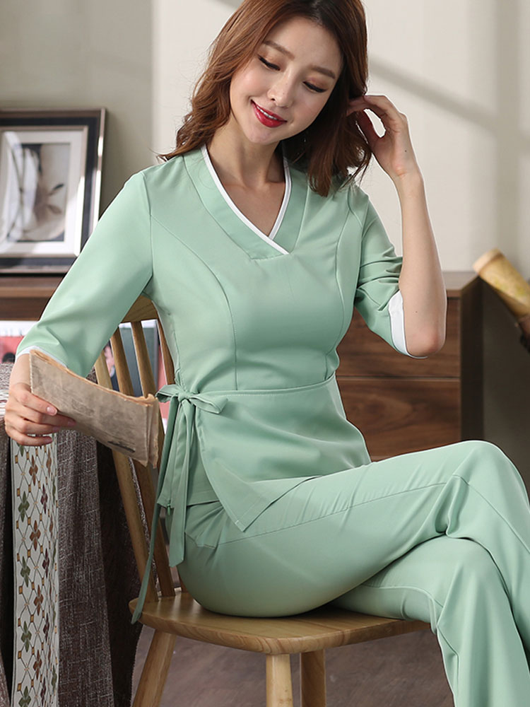 Autumn Women Beauty Salon Workwear Female Sauna Foot Bath Uniforms  Beauty Clothing Beautician Medical Work Clothes Uniforme Spa