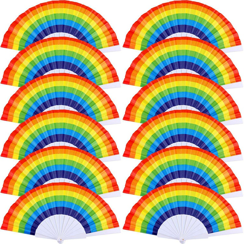 12 Pieces Rainbow Fans Rainbow Folding Fans Colorful Hand Held Fan Summer Accessory For Rainbow Party Decoration (Horizontal Str